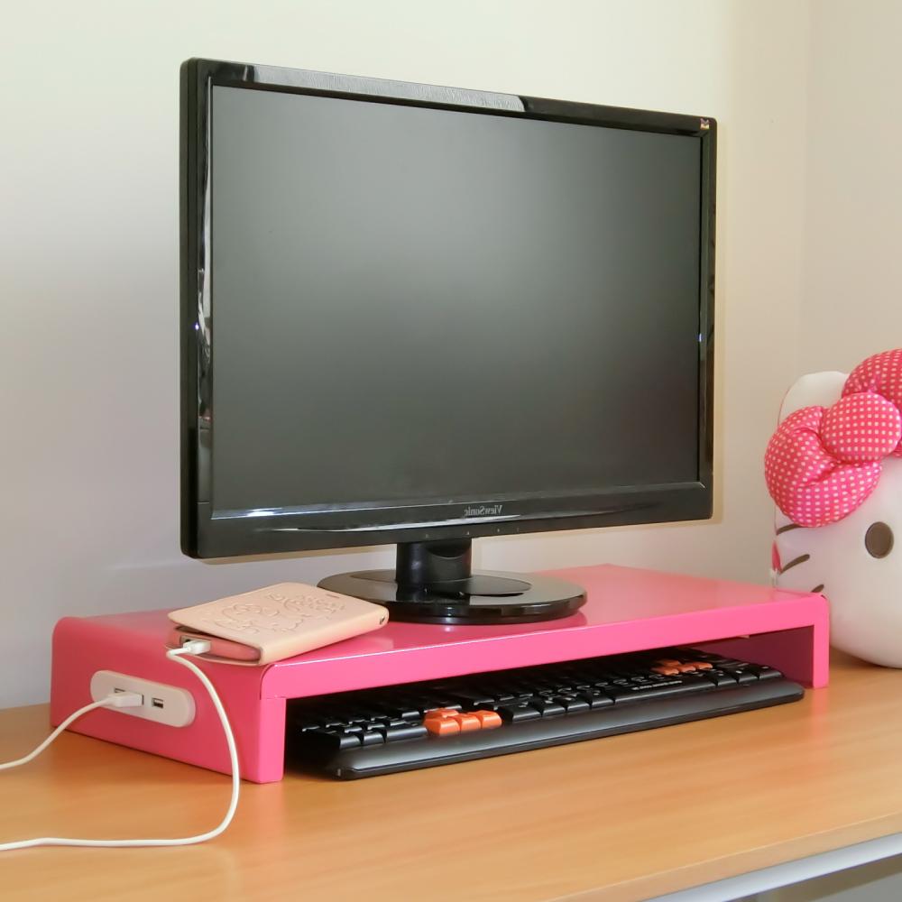 Amos-馬卡龍高載重鐵板多功能置物架/桌上螢幕架(USB+擴充電源插座)