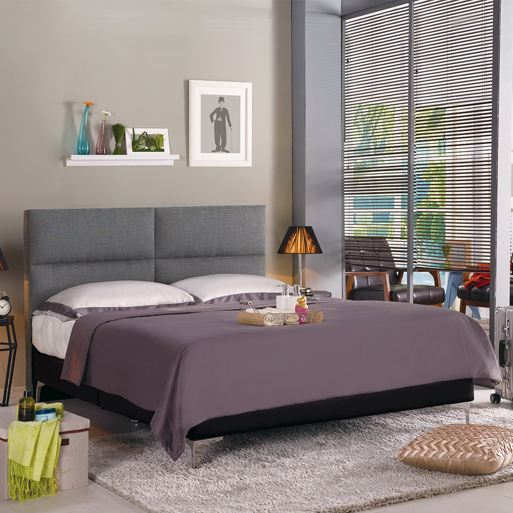 Boden-傑利5尺灰色雙人床組(不含床墊)