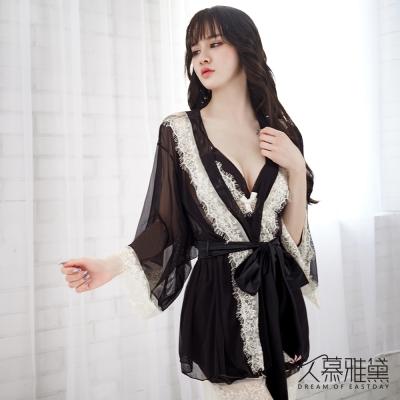 性感睡衣 雙色性感睫毛蕾絲三件式睡衣組。黑色 久慕雅黛
