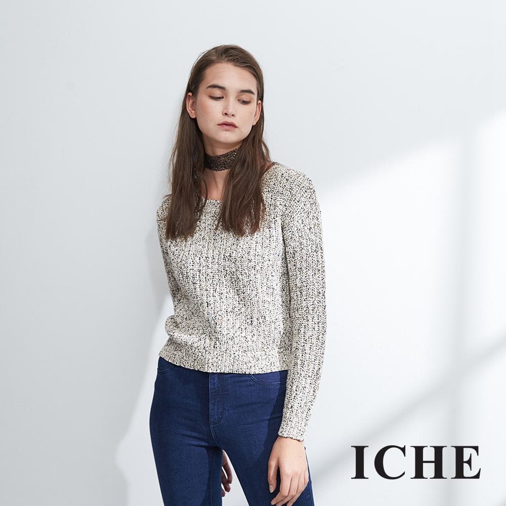 ICHE衣哲 簡約時尚百搭短版混色造型粗針織上衣(兩色)-駝-動態show