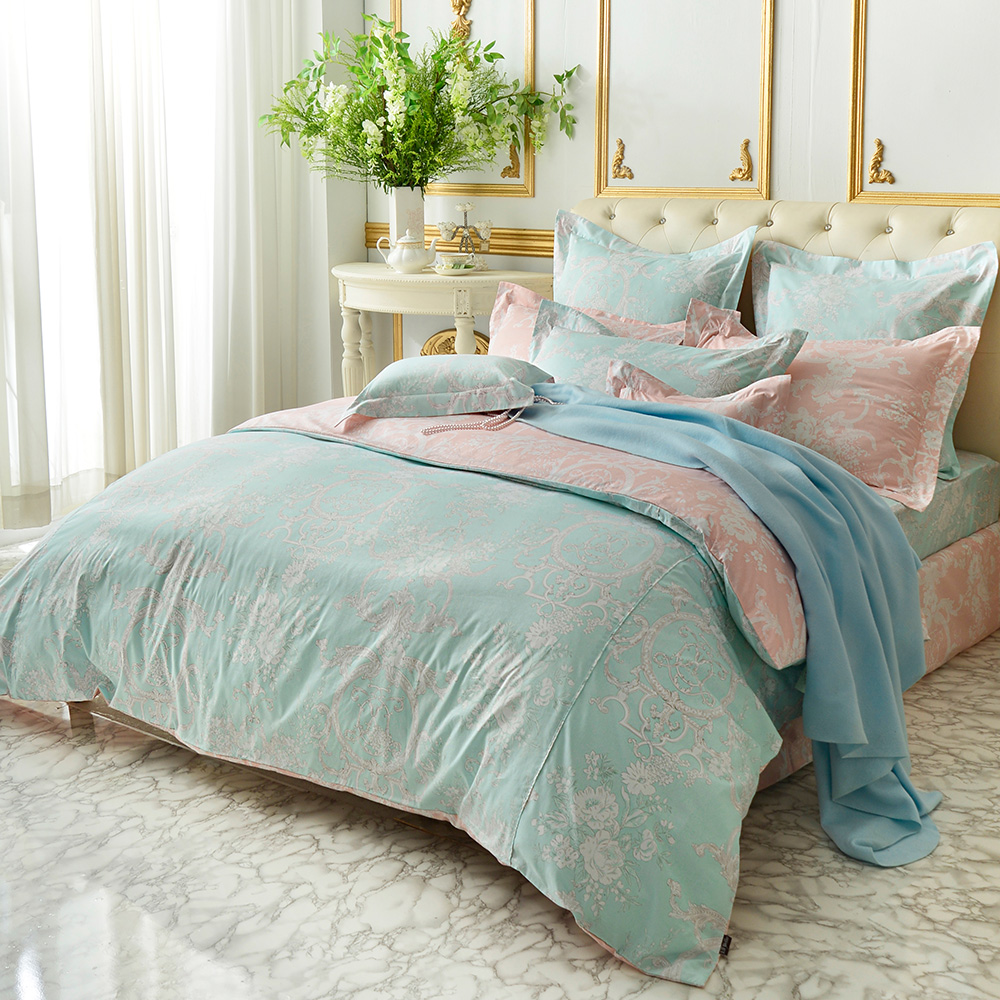 義大利La Belle 雙人貢緞防蹣抗菌吸濕排汗兩用被床包組 花曜滿庭