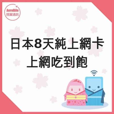 日本上網卡-8天上網吃到飽手機上網卡 SIM卡 網路卡