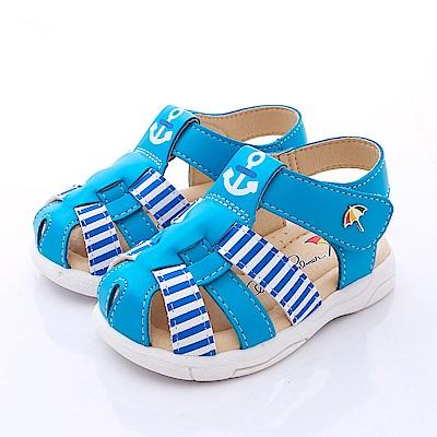雨傘牌 護趾Q軟皮質學步鞋 863207淺藍(寶寶段)C