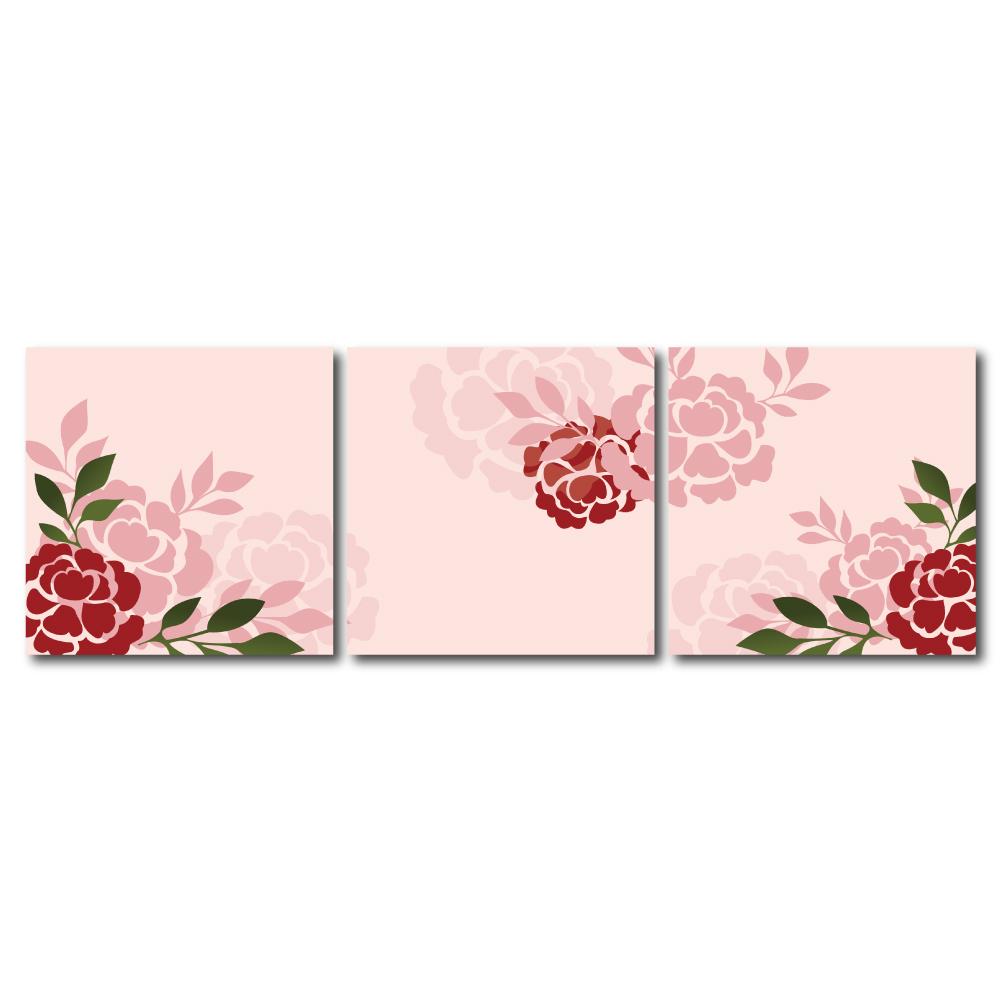 123點點貼- 三聯式無痕創意壁貼 - 玫瑰 30*30cm