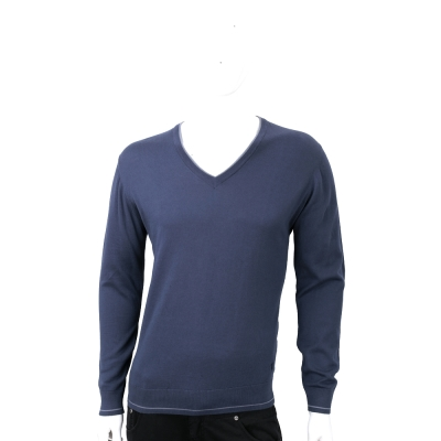 TRUSSARDI 喀什米爾撞色細節領深藍色針織衫