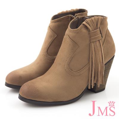 JMS-復古美型側流蘇粗高跟裸靴-卡其色