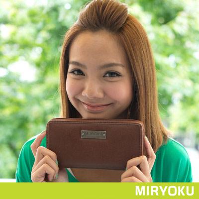 MIRYOKU-經典復古皮革系列 / 百搭拉鍊造型長夾- 啡