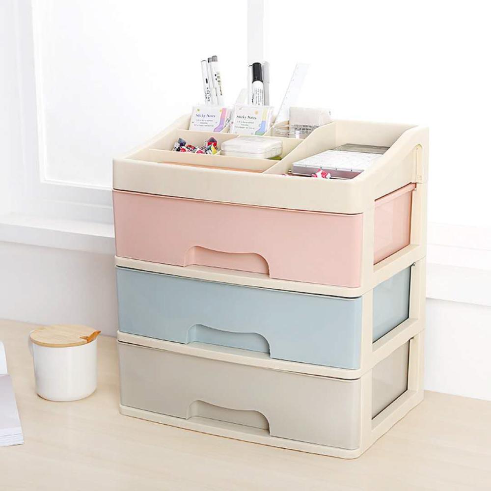 Amos-馬卡龍色三層抽屜桌上收納盒 儲物箱34x25x38