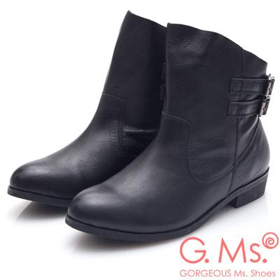 G.Ms. 牛皮斜口皮帶釦低跟短靴-黑色