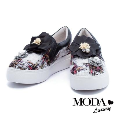 休閒鞋 MODA Luxury 奢華珍珠水鑽山茶花亮彩格紋毛呢厚底休閒鞋-黑