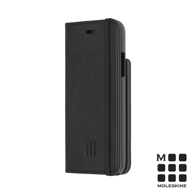 MOLESKINE IPHONE X 經典筆記造型掀蓋皮套-黑