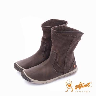 Softinos(女) HAPPY FEET 十字壓紋超軟牛皮中筒短靴 - 溫暖咖