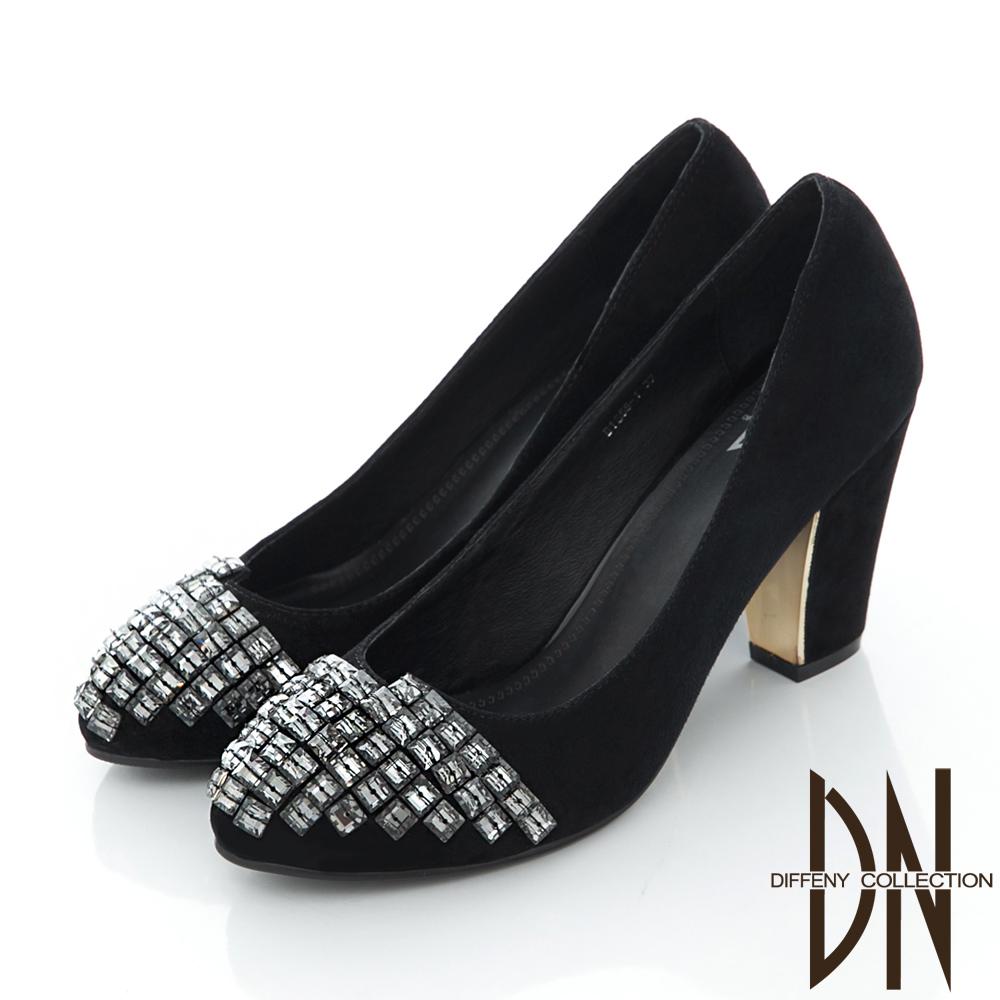 DN 巴黎女伶 水鑽點綴羊麂皮粗跟包鞋-黑