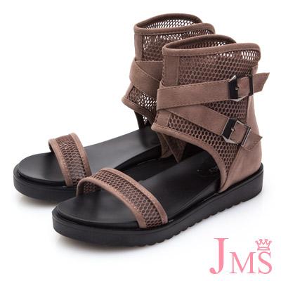 JMS-透膚網紋小心機內增高羅馬涼鞋-棕色