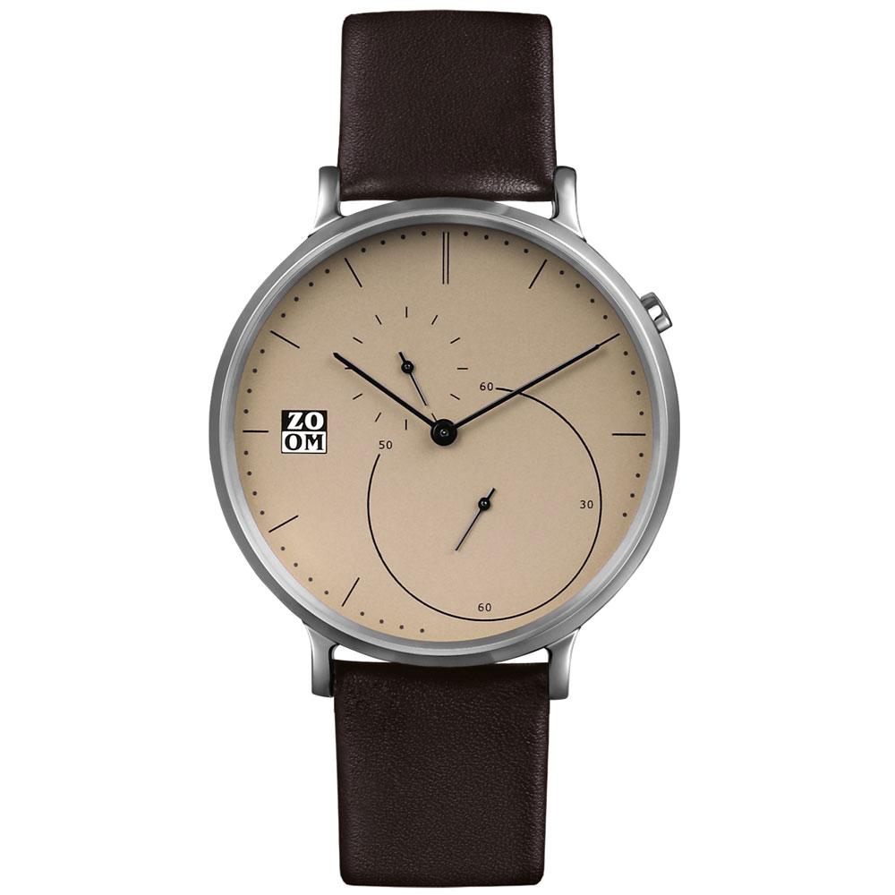 ZOOM-PURE 精準比例時尚腕錶-駝色/44mm