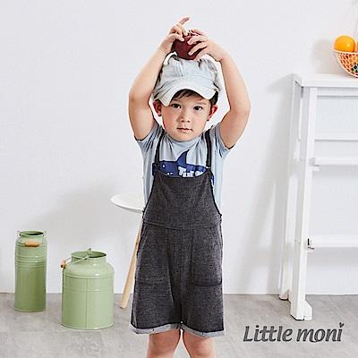 Little moni 針織牛仔吊帶褲 (2色可選)