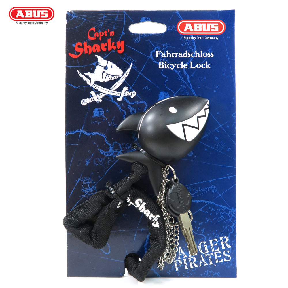 ABUS 德國防盜鎖 1510 Captn Sharky 60cm鯊魚造型頭單車鑰匙鎖-黑