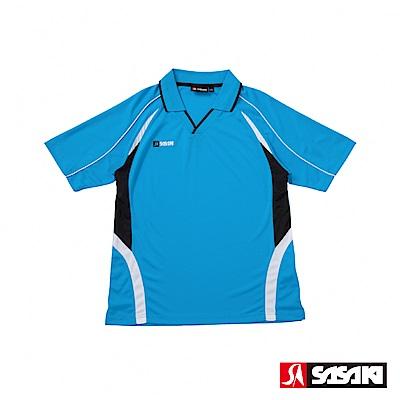 SASAKI 吸濕排汗排球短衫-男-翠藍/黑
