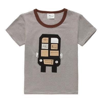 上衣 男童 條紋俏皮車 歐美經典兒童純棉短袖T恤