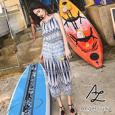【AngelLuna日本泳裝】深藍圖騰連身褲三件式比基尼泳衣