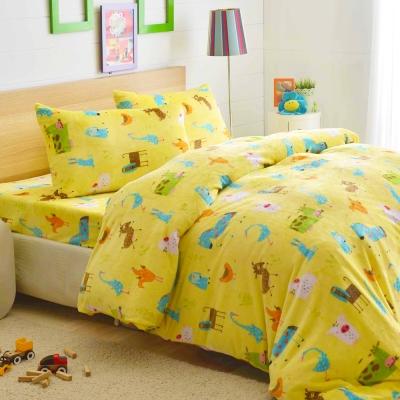 LAMINA 動物園 法蘭絨鋪棉床包被套四件組(雙人)