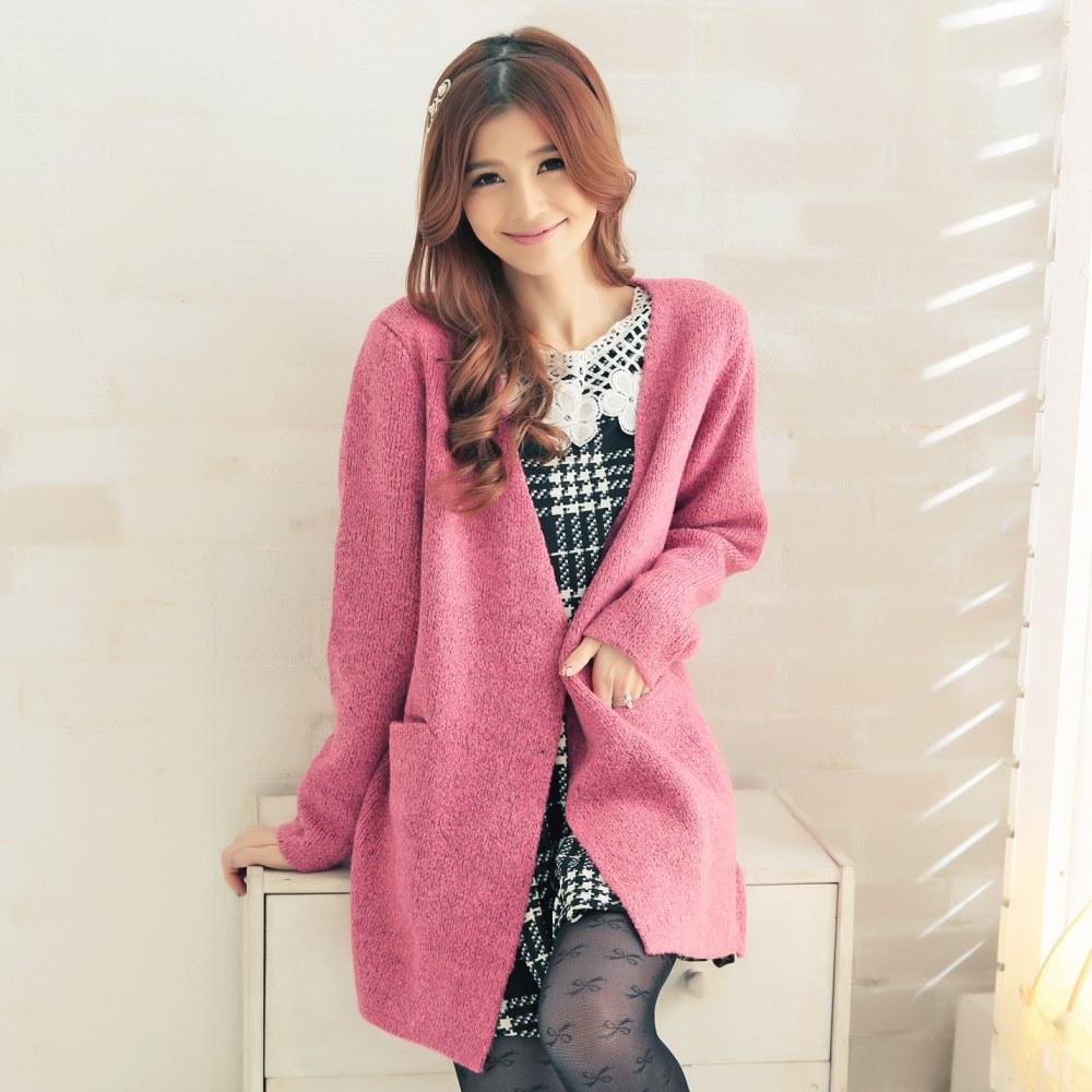 中大尺碼 韓版混色厚版紮實保暖針織毛衣外套-La Belleza