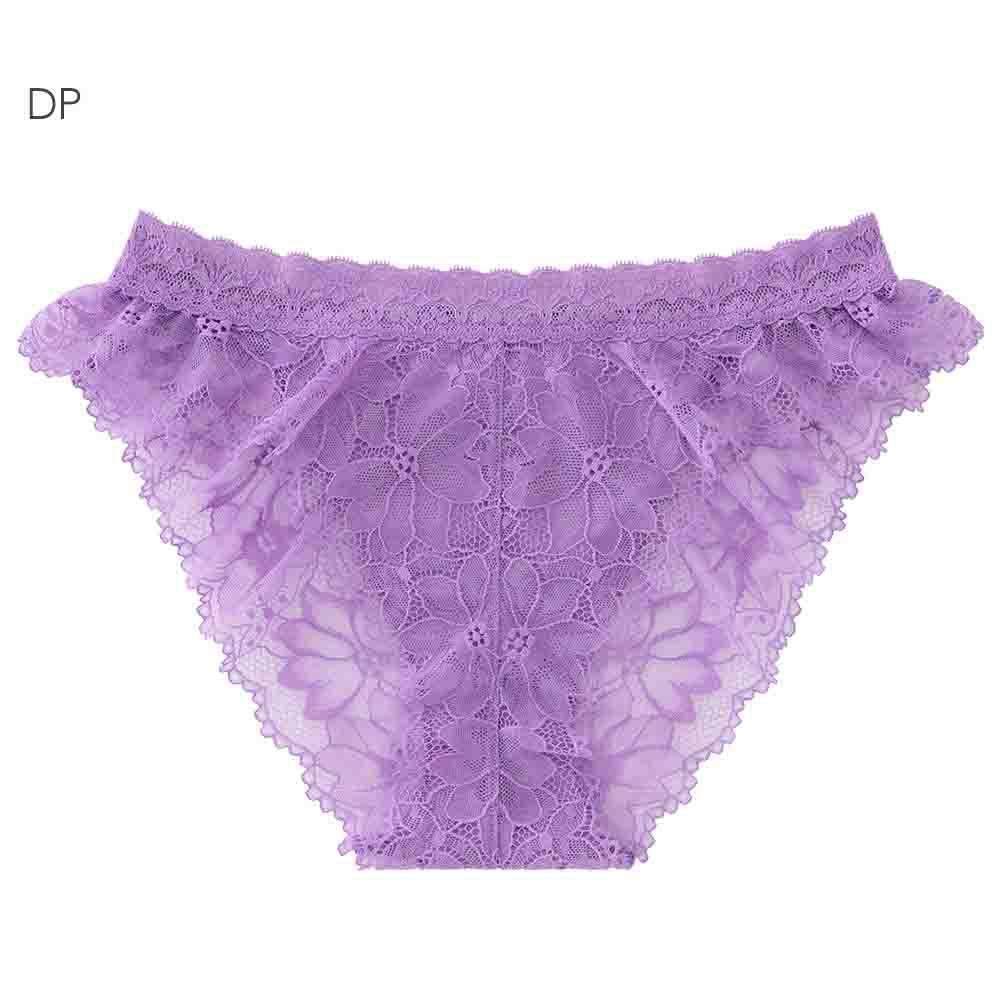 aimerfeel 性感全蕾絲緞帶半臀內褲-深紫色