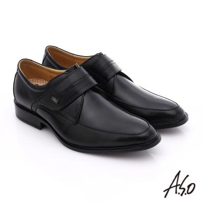 A.S.O 挺力氣墊 小牛皮魔鬼氈奈米氣墊皮鞋 黑