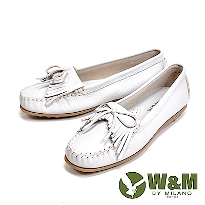 W&M 可水洗舒適柔軟蝴蝶結流蘇平底 女鞋-米白(另有灰、藍)