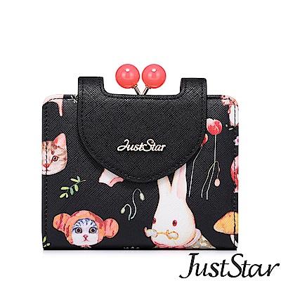Just Star 可愛喵夢幻圖紋對折短夾 子夜黑