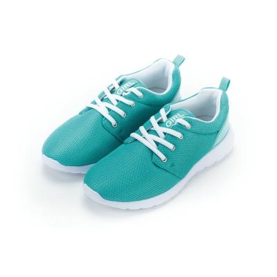 TOP GIRL-後亮皮透氣網布慢跑鞋-綠