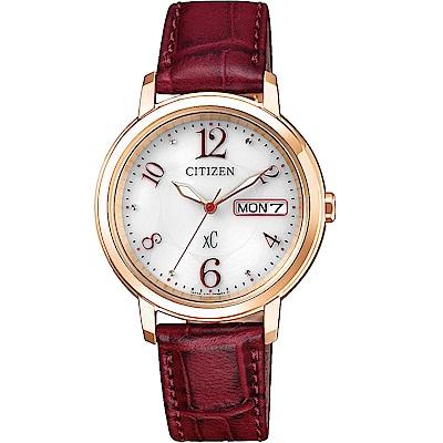 CITIZEN 星辰xC 亞洲限定 光動能女錶(EW2422-12A)-紅x雙色/33mm