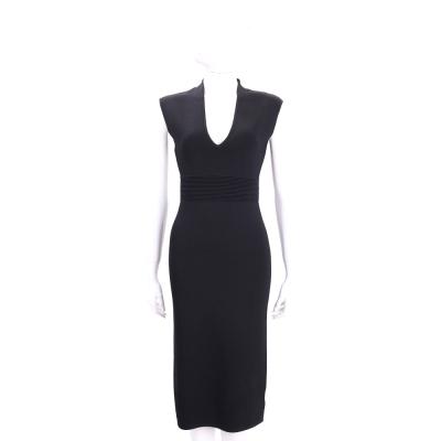 Michael Kors V-Neck Midi 黑色束腰設計無袖洋裝