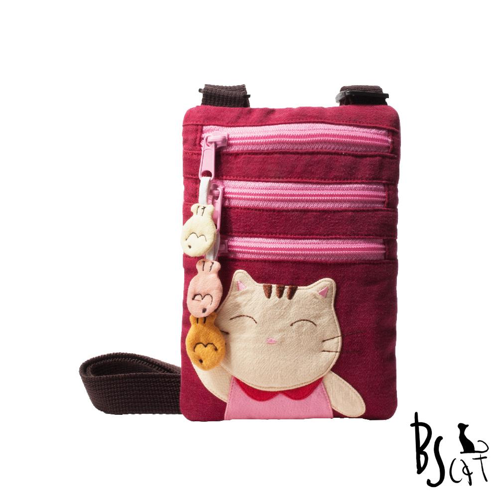 ABS貝斯貓 可愛貓咪拼布 郊遊隨身包 肩/斜背包 (暗紅) 88-195