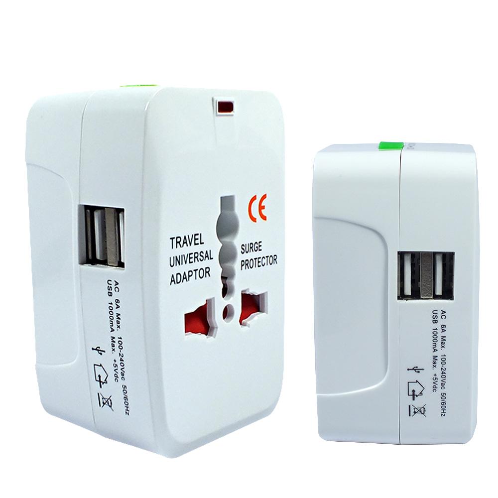 出國必備 世界萬國旅行用電源轉接頭(帶2個USB)