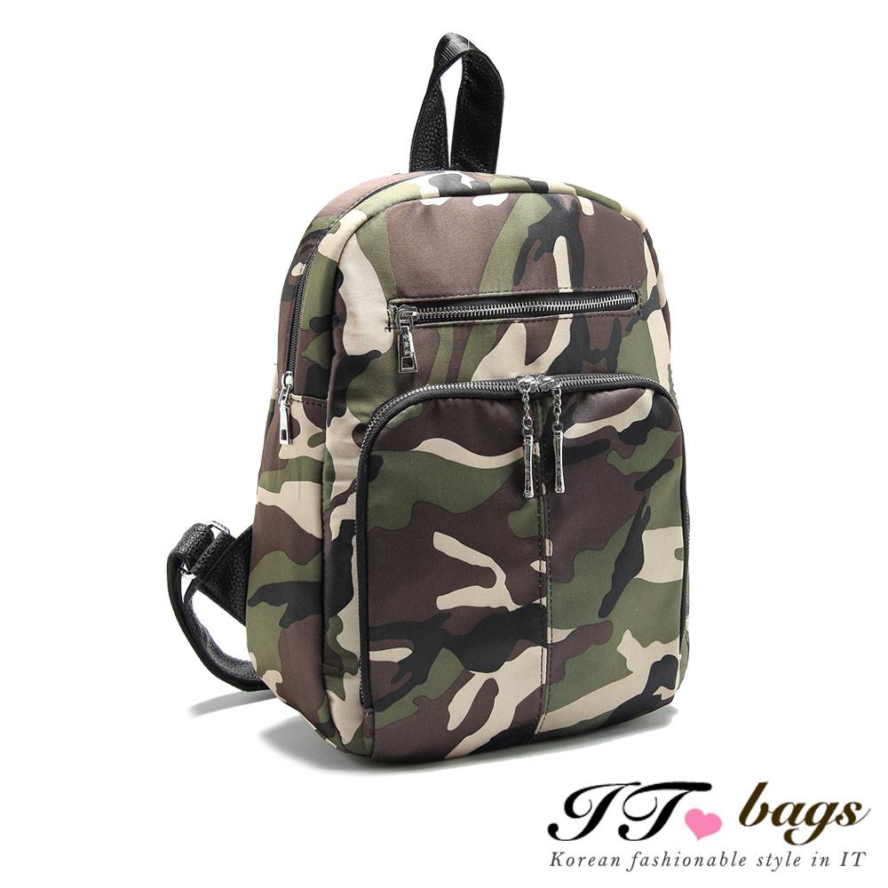 It Bags北極星輕量絲光尼龍三層迷彩後背包迷彩色