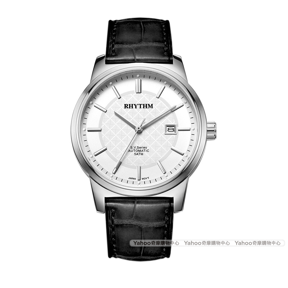 RHYTHM日本麗聲都會格紋英倫風自動機械腕錶VA1501L-01-白/51mm