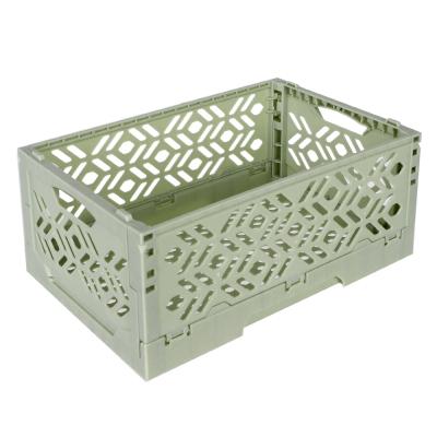 居家達人 創意摺疊式萬用收納盒/置物籃(草綠)_2入