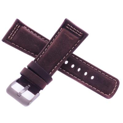 旺旺精品 沛納海代用皮帶名廠同級摩卡棕車米線瘋馬皮錶帶-26*22mm