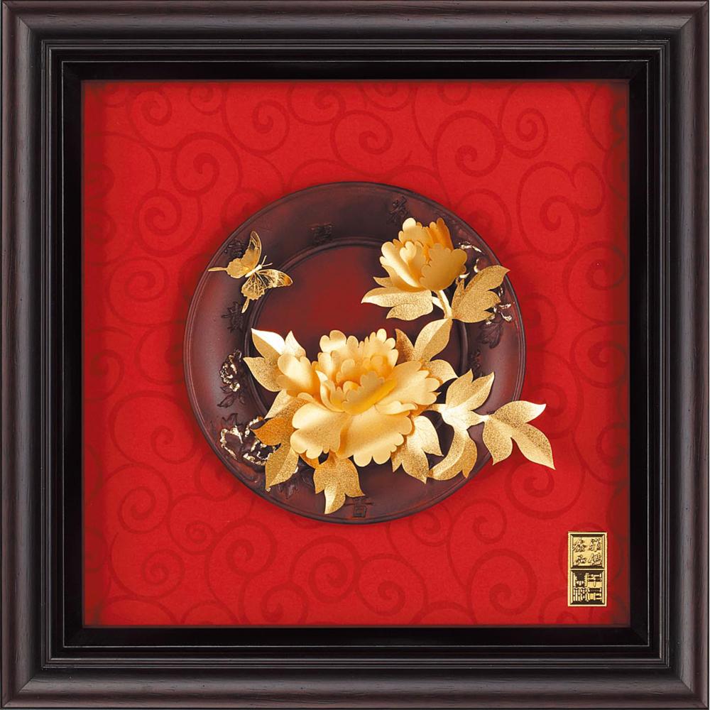 雅鑑鑫品金箔畫圓盤系列(小)牡丹 花開富貴-23x23cm