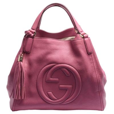GUCCI SOHO系列大LOGO流蘇吊飾小牛皮肩背包(大-玫瑰粉色) @ Y!購物