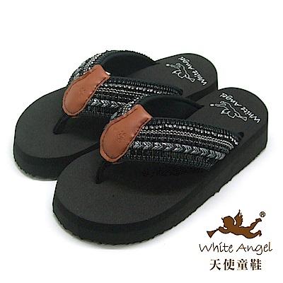 天使童鞋-卡爾蜜雅夾腳親子拖鞋(超大童)-黑
