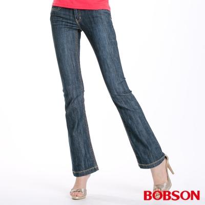 BOBSON 女款刺繡貼鑽小喇叭褲(藍53)