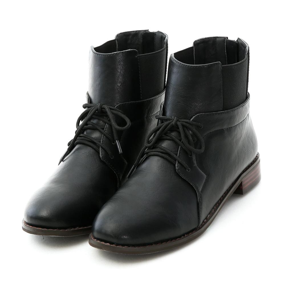 D+AF 酷玩個性.鬆緊帶拼接綁帶造型短靴*黑