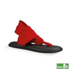 SANUK 素面綁帶人字涼鞋-女款(紅色)