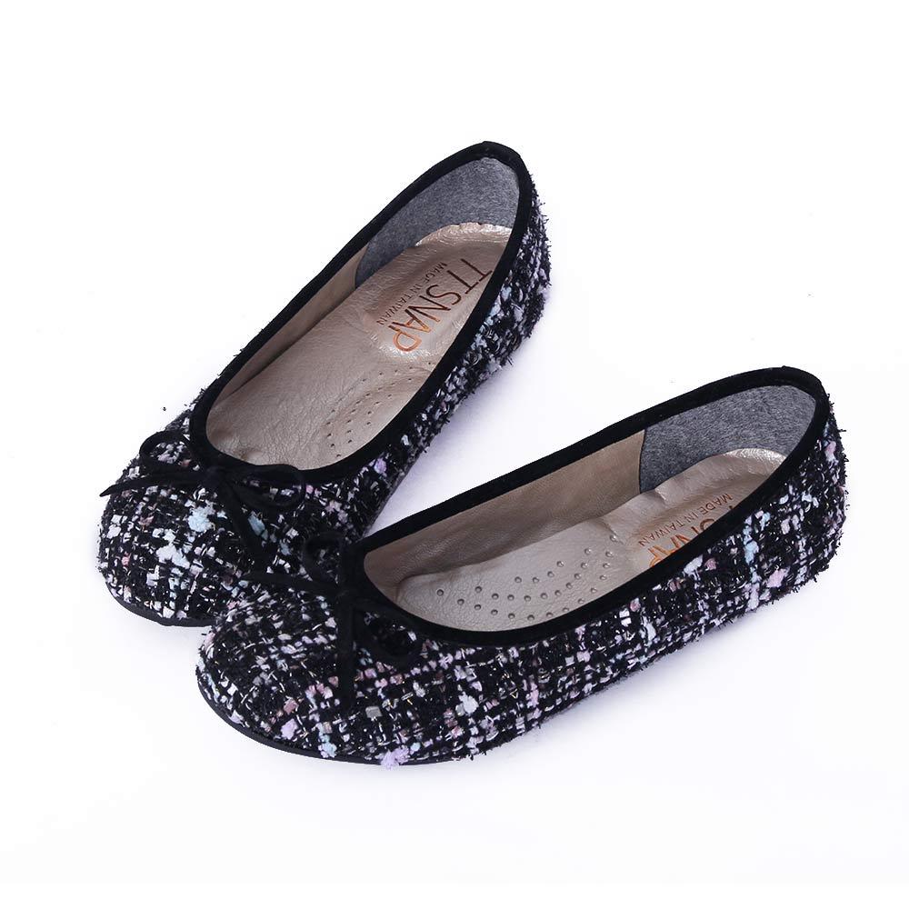 TTSNAP娃娃鞋-MIT全真皮 小香風蝴蝶結柔軟Q平底鞋 毛呢黑