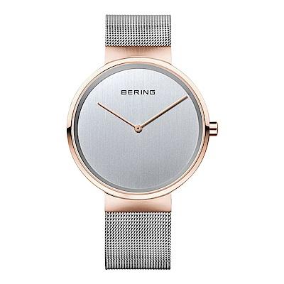 BERING丹麥精品手錶 簡單無刻度米蘭帶系列 玫瑰金x銀39mm