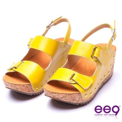【ee9】率性風采~靚亮金屬鑲嵌金屬鉚釘軟木紋楔形跟涼鞋*黃色