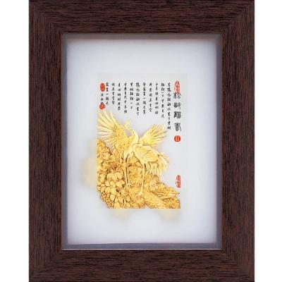 開運陶源  純金古香系列【松齡鶴壽】金箔畫