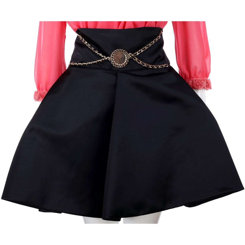 ELISABETTA FRANCHI 黑色金屬鍊飾高腰澎裙